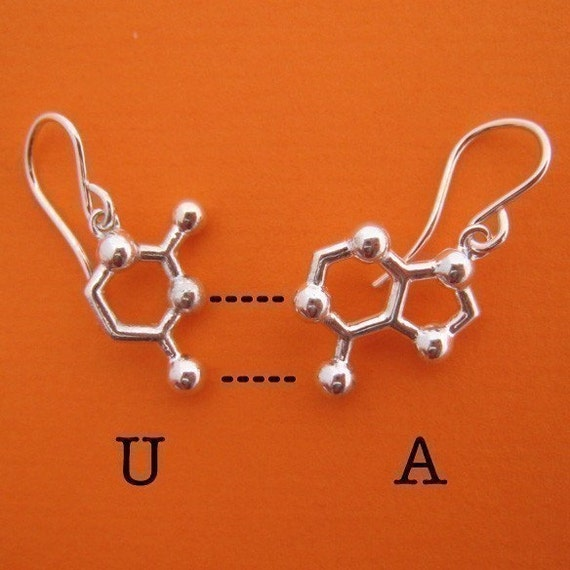 base pair earrings - choose your favorite DNA and RNA nucleotide bases