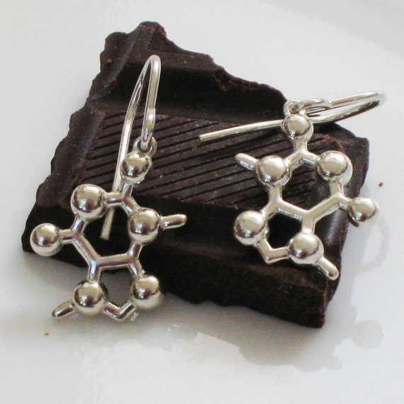 chocolate - theobromine molecule - earrings in solid sterling silver
