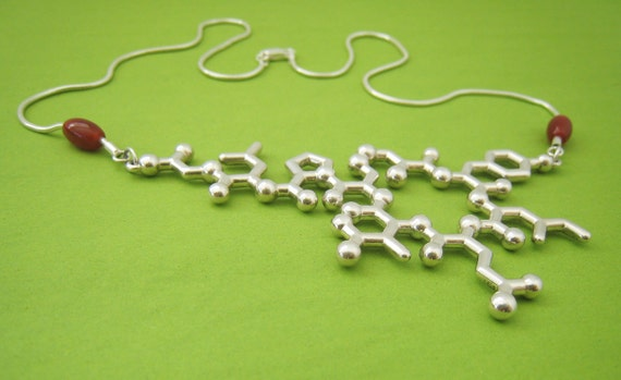 oxytocin necklace with no beads and dopamine earrings - reserved for Whitney
