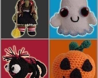 Amigurumi Pattern Crochet Scary Set Halloween Dolls DIY Instant Digital Download PDF