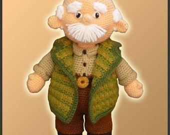 Amigurumi Pattern Crochet Grandpa Doll DIY Digital Download