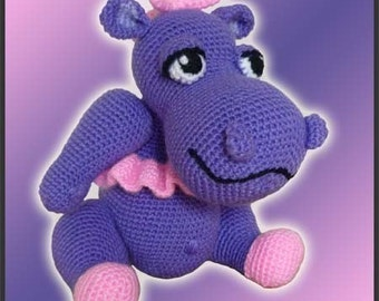 Amigurumi Pattern Crochet Ballerina Hippo Hippopotamus Doll DIY Instand Digital Download PDF