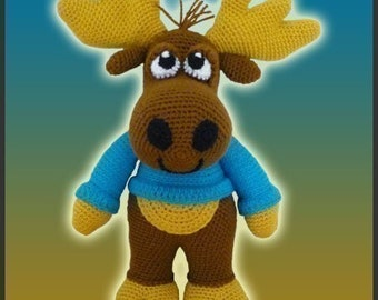 Amigurumi Pattern Crochet Nelson Moose DIY Instant Digital Download PDF