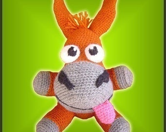 Amigurumi Pattern Crochet Looney Mule Donkey Doll DIY Instant Digital Download PDF