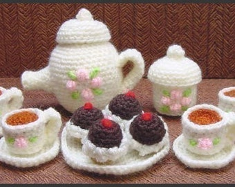 Amigurumi Pattern Crochet Mini Tea Set and Cupcakes DIY Instant Digital Download PDF