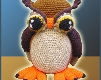 Amigurumi Pattern Crochet Horned Owl DIY Instant Digital Download PDF