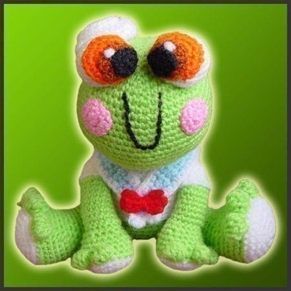 Amigurumi Pattern Crochet Froggy Fred Frog Doll DIY Instant Digital Download PDF
