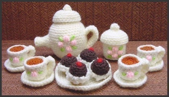 Amigurumi Pattern Crochet Mini Tea Set and Cupcakes DIY Digital Download