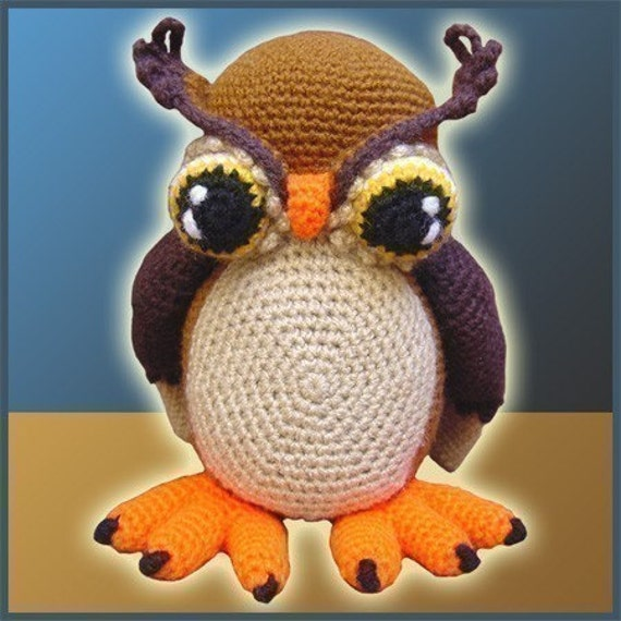 Amigurumi Pattern Crochet Horned Owl DIY Digital Download