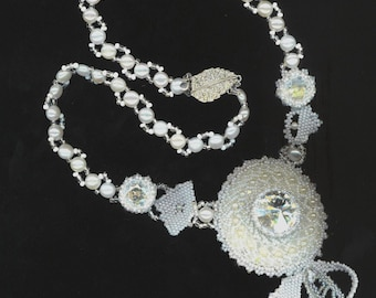 Beadwoven Bridal Necklace . Rivoli Stones Moonlight .Wedding jewelry with Pearls- Classy Bridal Statement Necklace by enchantedbeads on Etsy