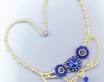 ON SALE 50 % off . Beaded Necklace . Swarovski Crystal . Sapphire Rivoli Moonlight. Statement Necklace- Royal Blue by enchantedbeads on Etsy