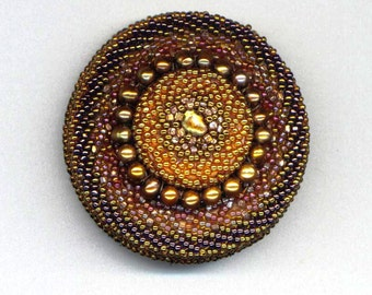 50% off - Golden Beaded Brooch. Genuine Pearls. Chocolate Caramel OOAK . Gold Round Pin. Mandala - Hollywood Style by enchantedbeads on Etsy
