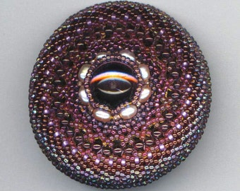 Round Beadwoven Brooch . Beaded Rhinestone . Genuine Pearls . Purple, Lilac, Burgundy - Ardent Thoughts by enchantedbeas on Etsy