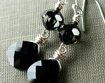 Swarovski Crystal Earrings, Black Earrings, Sterling Silver Earrings, Swarovski Jewelry, Wire Wrapped, Swarovski Crystal, Sugar Rococo