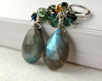 Labradorite Earrings Sterling Silver Cluster ..... Preen ....