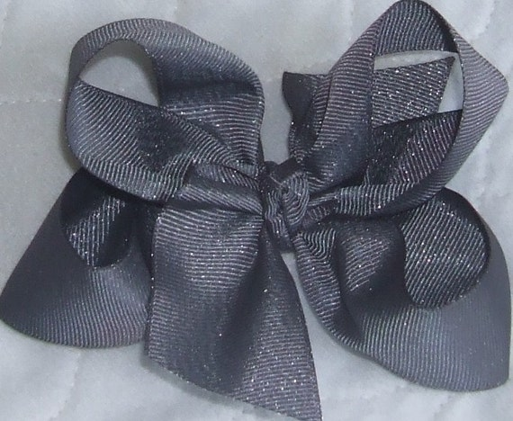 "Dark Gray Silver Slate Grosgrain Glitter Sparkle Loopy Boutique 5"" Hair bow"