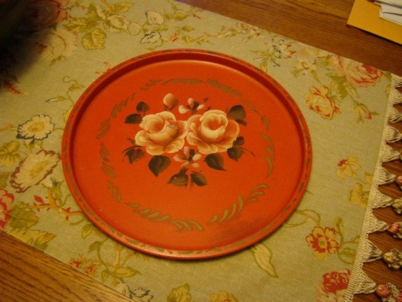 Decorative Vintage Red Tole Tray