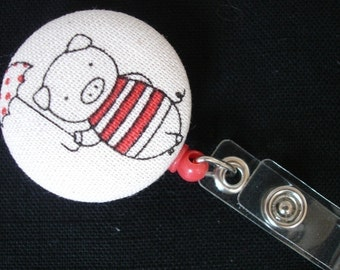 MARY POPPINS PIG Fabric and Mylar Covered Retractable Badge Reel