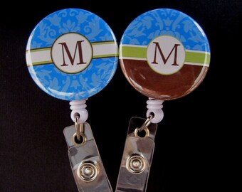 BLUE DAMASK MONOGRAM Retractable Badge Reel.....Choose Your Letter