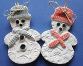 Sale - Set of Two Snowman Ornaments - Boy and Girl