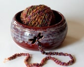 Stoneware Yarn Bowl with Dragonfly Cutout