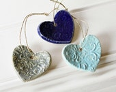 Shades of Blue // Heart Ornaments //  Set of Three