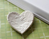 Ceramic Heart for Ring Catcher or Trinket Dish in Soft Cream