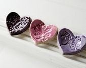 Ceramic Ring Catchers 3 Wee Hearts for Gift Giving or Display