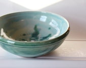 Soft Blue and Green  // Ceramic Serving Bowl // Wheel Thrown