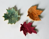 Set of 3 Colorful Ceramic Leaves for Decorating // Ring Catchers //  Green, Orange and Pink