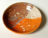 Speckled Serving Bowl, Trio of Orange Brown Cream, Bowl Vessel