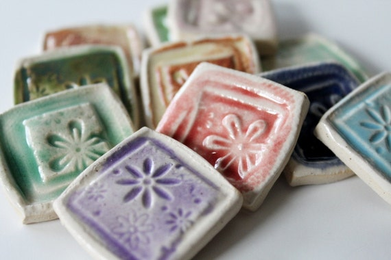 DIY Set of 11 Pretty Hand Made Tiles for Pendants, Mosaics or Magnets