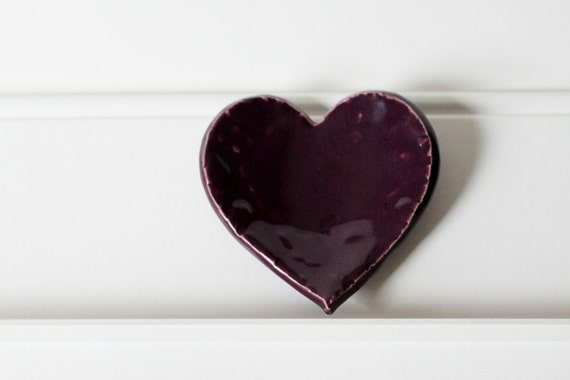 Ceramic Heart for Ring Catcher or Trinket Dish in Deep Purple