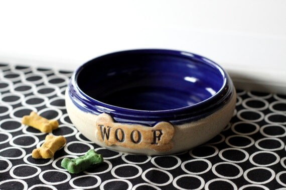 Dog Food Bowl  Ready to Ship Pet Food Pottery Bowl on Sale