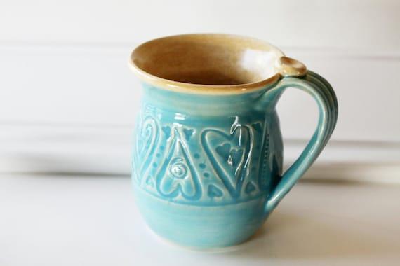 The Love Mug Glazed in TIffany Blue // One Large Slab Built Textured Mug // Holds 15 ounces