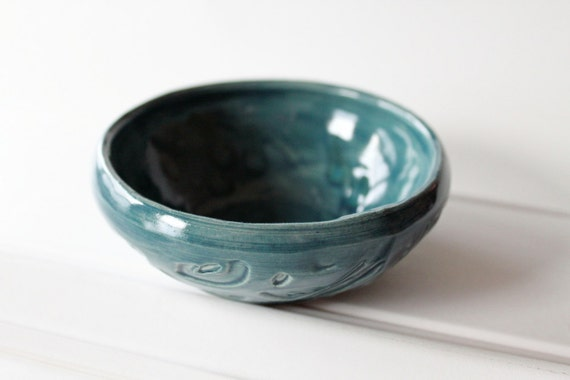 Textured Bowl //  Glazed in Teal Blue