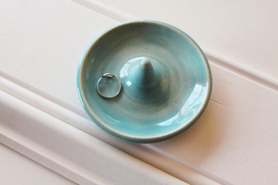 Wheel Thrown Ceramic Ring Dish in Baby Blue