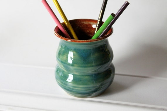 Pencil Holder // Pen and Pencil Caddy or Vase // Office Caddy