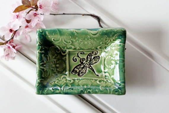 Wee Rectangular Dish - Perfect for Rings, a Teabag or Coins / Soft Green