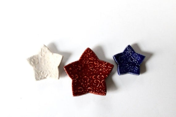 Patriotic Clay Stars - Red, White and Blue