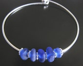 Sea Glass Jewelry, Deep Blue Sea - Genuine Beachcombed Cobalt Blue Seaglass - Bangle Bracelet, Jewellery