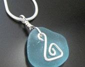 Genuine Beach Combed Sea Glass Necklace - Aqua Blue Swirl - Sterling Silver, Jewelry