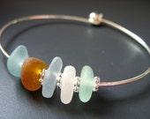 Sea Glass Jewelry- Natures Colors of the Sea - Genuine Sea Glass - Bangle Bracelet, Jewellery