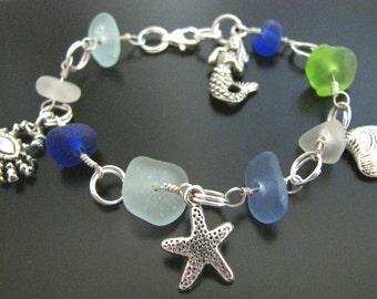 Color of the Sea - Genuine Sea Beach Glass - Blues, Green Sea Life, Charm Bracelet