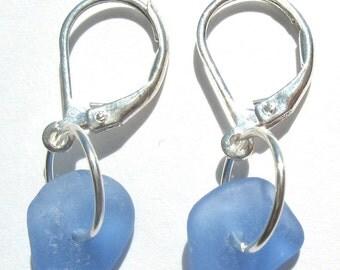 Genuine Sea Beach Glass RARE Cornflower Blue Leverback Earrings - Sterling Silver