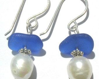 Sea Glass Jewelry, Cobalt Blue Ocean - Genuine Beach Glass Earrings - Sterling Silver and Fresh Water Pearls, Jewellery