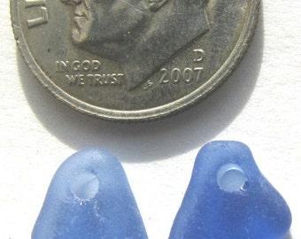 Drilled Cornflower Blue Sea Glass, Seaglass Pair - for Earrings, Genuine Beach Glass