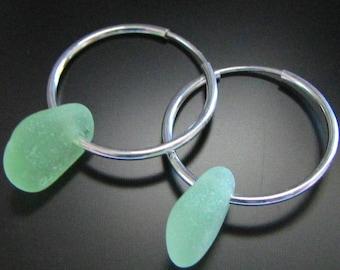 Limey Seafoam Green - Genuine Sea Glass Earrings - Sterling Silver Hoops, Jewelry