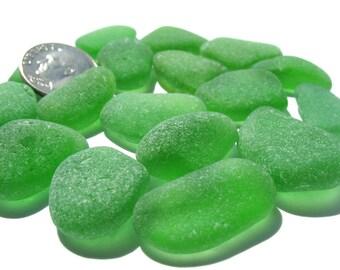 Sea Beach Glass Lot - Emerald, Kelly Green Smooth, Flawless, Jewelry Grade, Bulk Seaglass