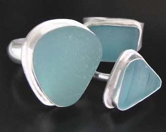 Sea Glass Jewelry, Sterling Silver Ring - Your Size, Your Color Choice - Aqua Blue, Soft Blue or Lime Green Jewelry, Jewellery